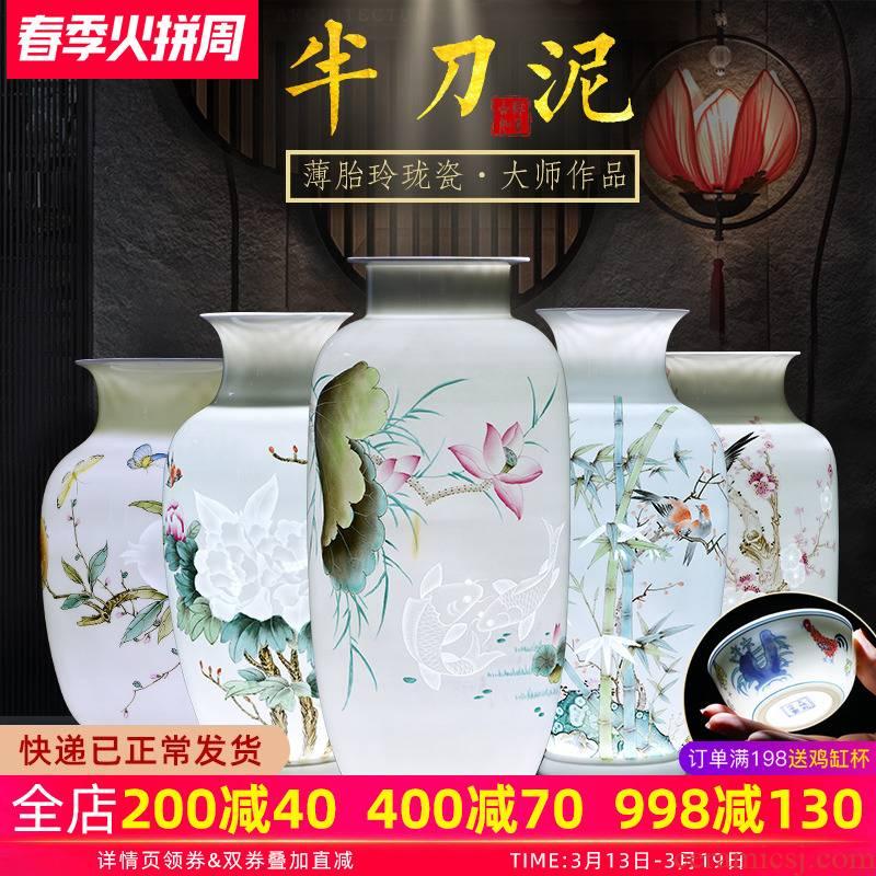 Jingdezhen ceramics manual hand - made vases, flower arrangement of Chinese style living room home TV ark adornment housewarming gift