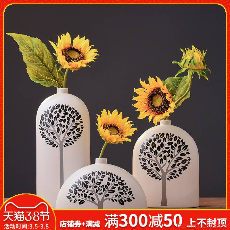 Combination of I and contracted white ceramic vase three - piece creative Nordic furnishing articles, TV ark, wine flowers