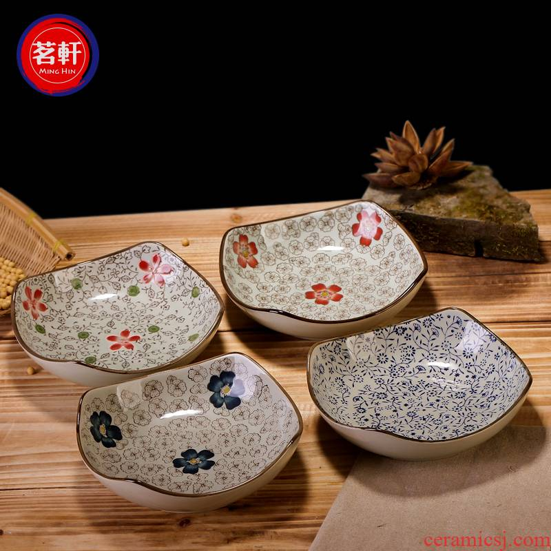 Japanese - style square creative move under the glaze color hand - made ceramic plate LIDS, deep dish dish Korean tableware restoring ancient ways