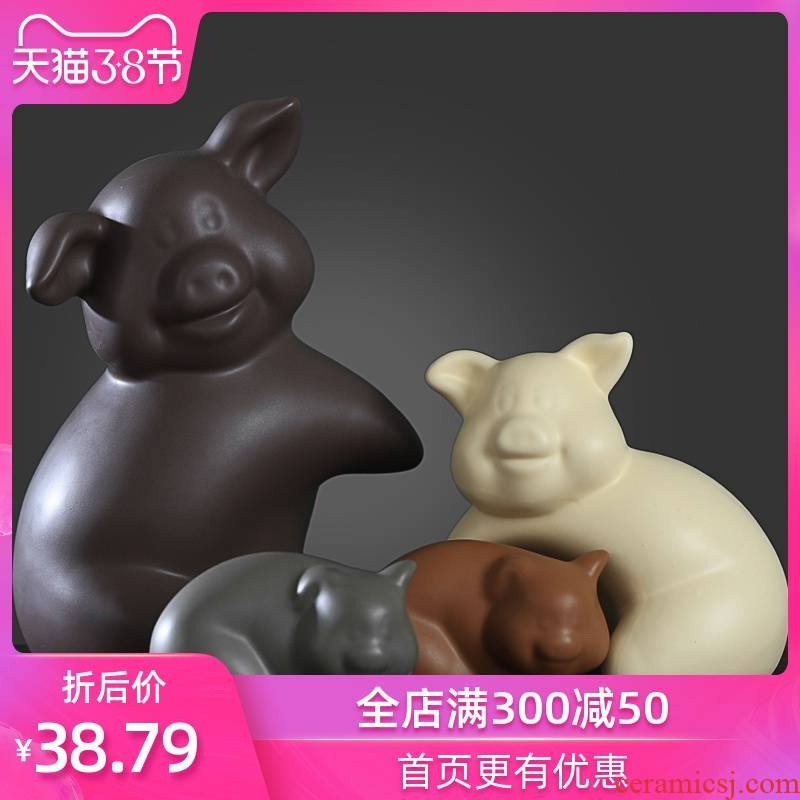 Nordic home furnishing articles gifts creative living room TV wine porch decoration ceramic decoration decoration of pig