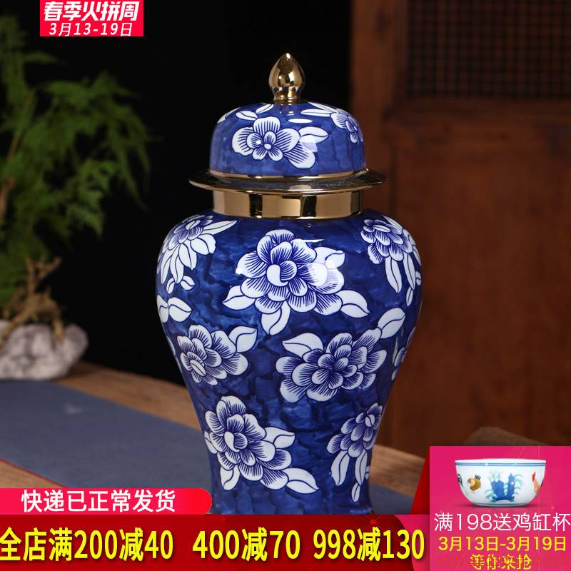 New Chinese style general hand - made of blue and white porcelain jar of large storage tank jingdezhen ceramics sitting room porch decoration furnishing articles