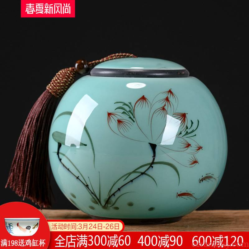 Jingdezhen ceramic hand - made caddy fixings small storage tank pu - erh tea and tea tea POTS sealed storage tank suit