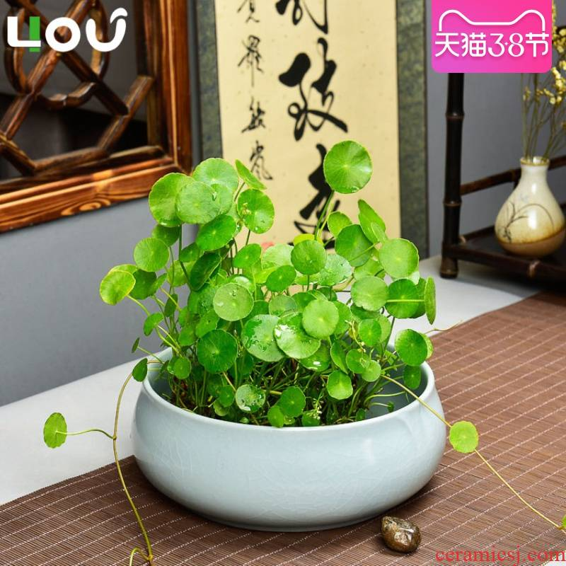 Refers to flower pot ceramic your up Taiwan style classical hydroponic plant large bowl lotus basin water lily copper grass flower pot