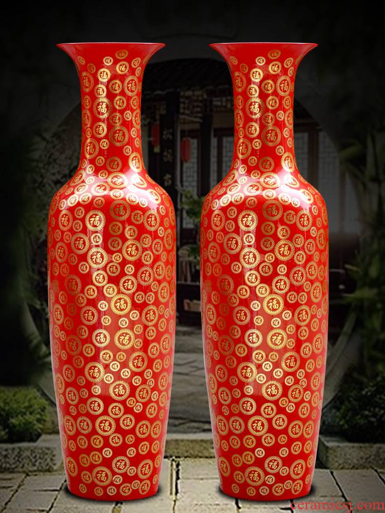 Jingdezhen ceramic vase of large sitting room flower arranging Chinese red Jin Fu porcelain hotel wedding big furnishing articles