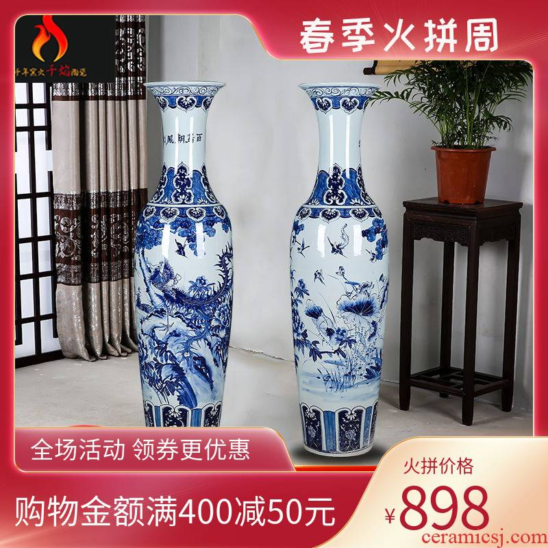 Jingdezhen ceramics of large hand birds pay homage to the king home sitting room hotel decoration of blue and white porcelain vase furnishing articles