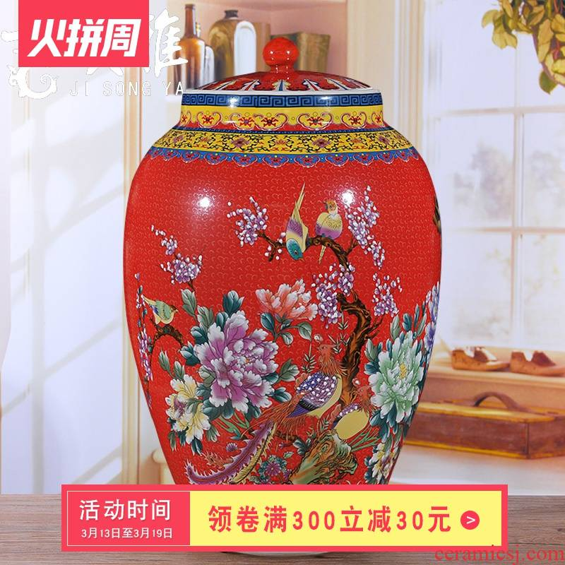 Jingdezhen ceramic ricer box barrel storage barrel oil cylinder tank storage tank of household adornment palace wind insect - resistant moistureproof