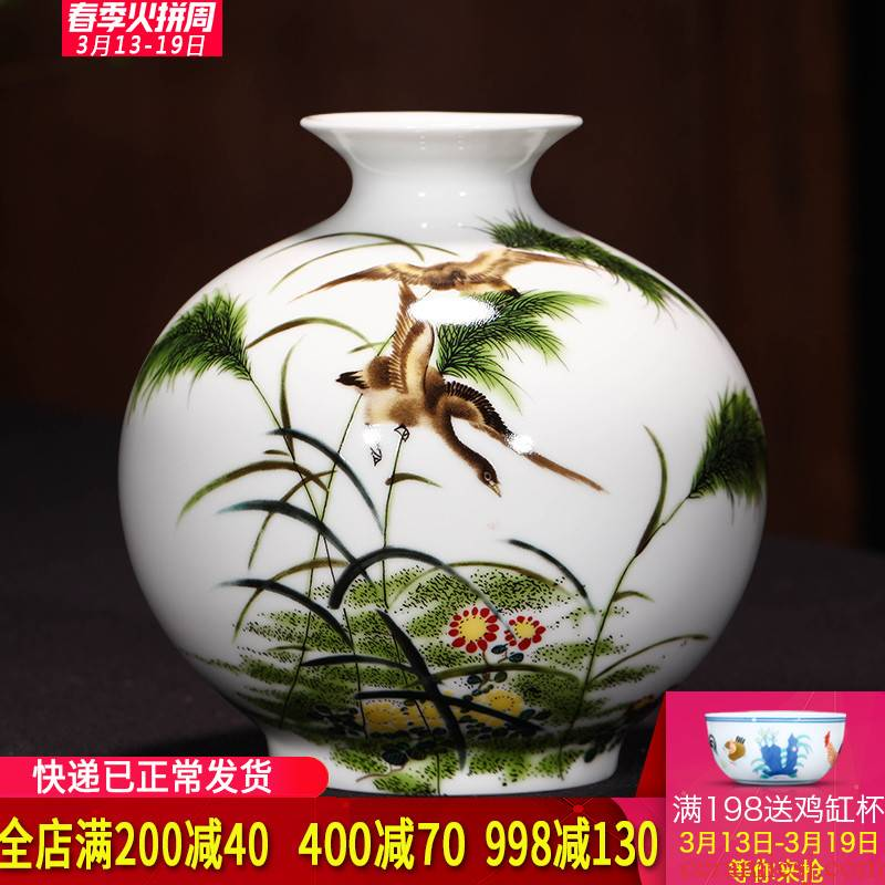 Small flower arranging jingdezhen ceramic modern pastel new Chinese style household, sitting room porch table decoration vase furnishing articles
