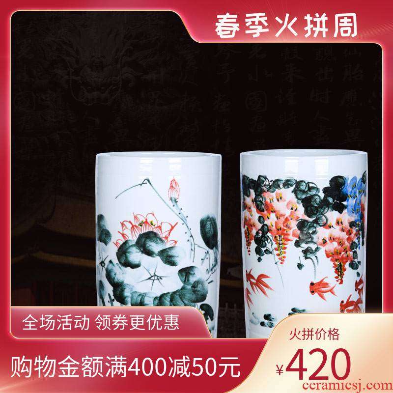 Jingdezhen ceramics hand - made painting of flowers and quiver landing a large vase furnishing articles and calligraphy cylinder scroll cylinder flower arranging the sitting room