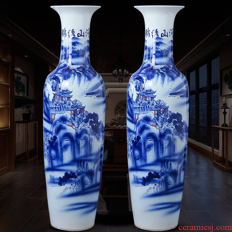 Jingdezhen ceramic hand - made large blue and white porcelain vase Chinese sitting room adornment is placed hotel opening gifts