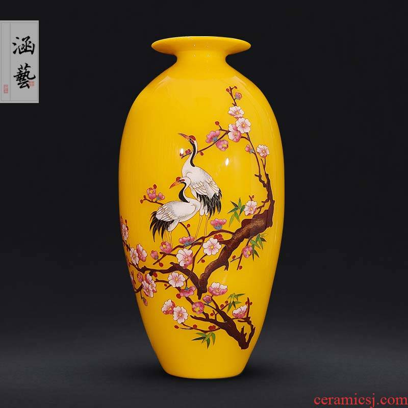 Jingdezhen ceramics gold straw harbinger figure Chinese olive vase sitting room place flower arranging decorative arts and crafts