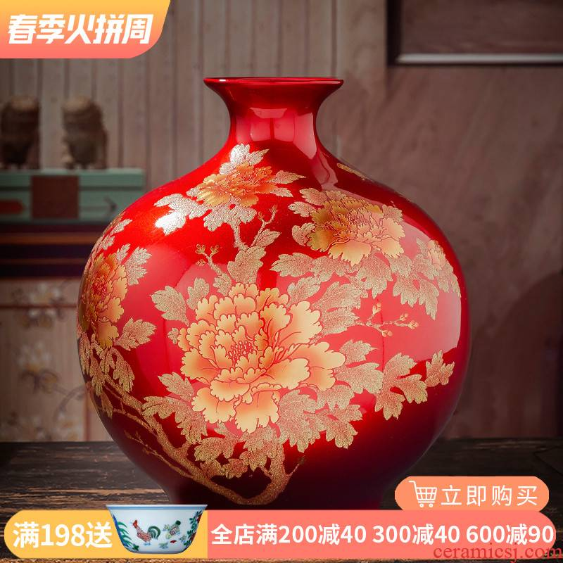 Jingdezhen ceramic vase pomegranate red bottle furnishing articles new Chinese flower arranging rich ancient frame sitting room decoration household act the role ofing is tasted