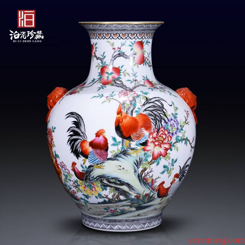 Jingdezhen ceramics imitation the qing qianlong pastel auspicious ears big vase sitting room home decoration collection furnishing articles