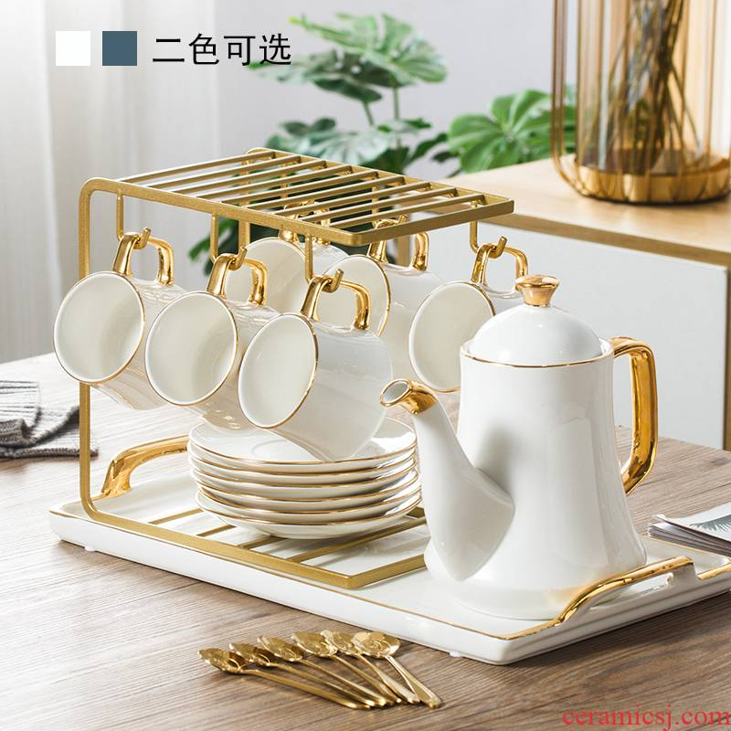 Ins light much coffee cup small European - style key-2 luxury home water contracted ceramic cup English afternoon tea tea set