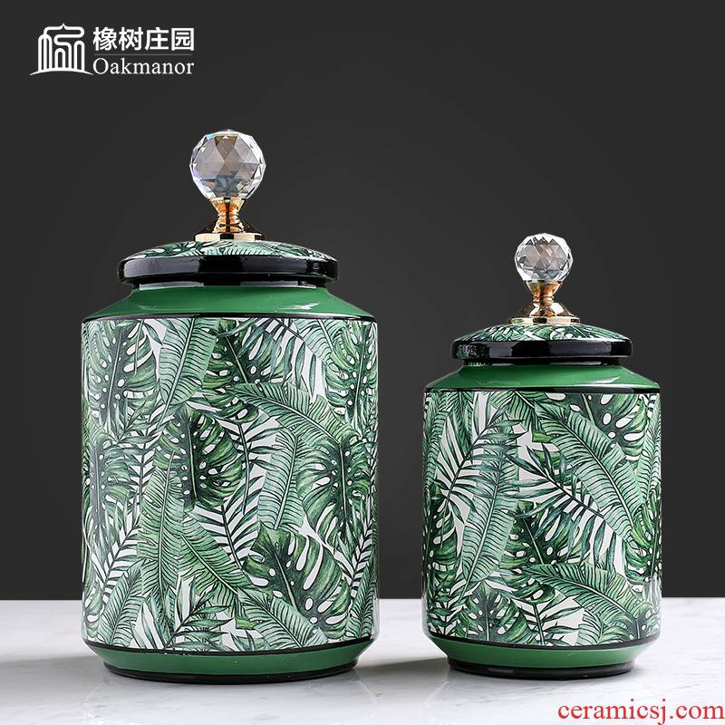 American light key-2 luxury porcelain pot storage tank with cover furnishing articles continental candy jar Chinese tea pot sugar can receive a decoration