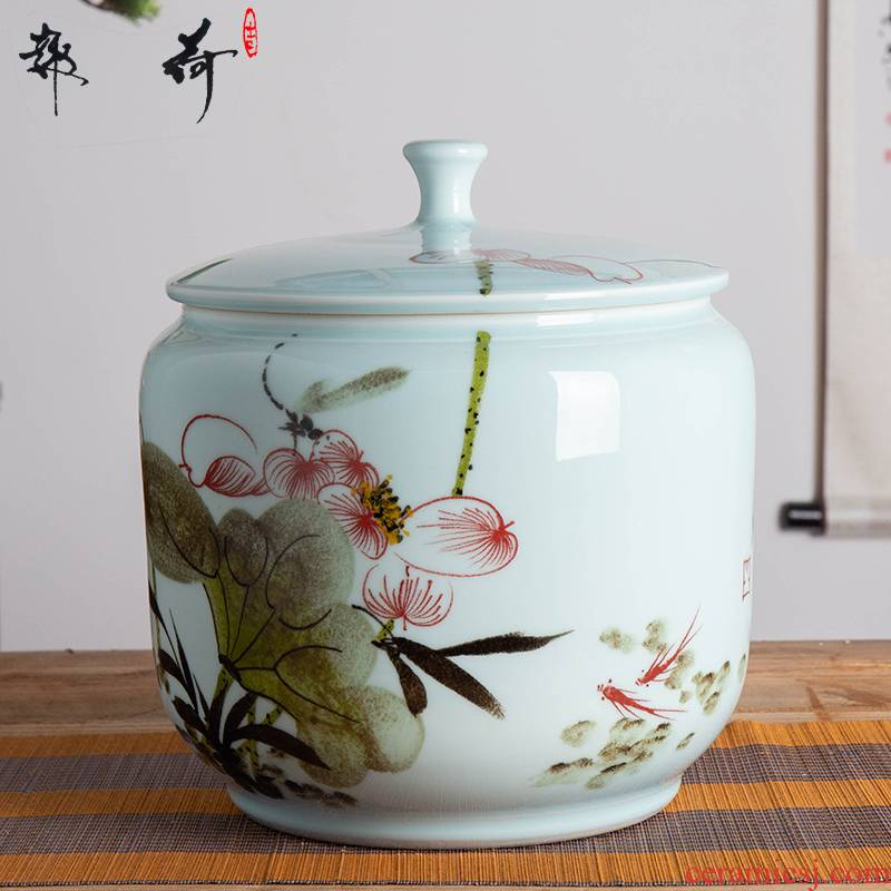 Jingdezhen ceramic barrel with cover rice box 10 kg20 jin to rice storage/household insect seal moisture meters