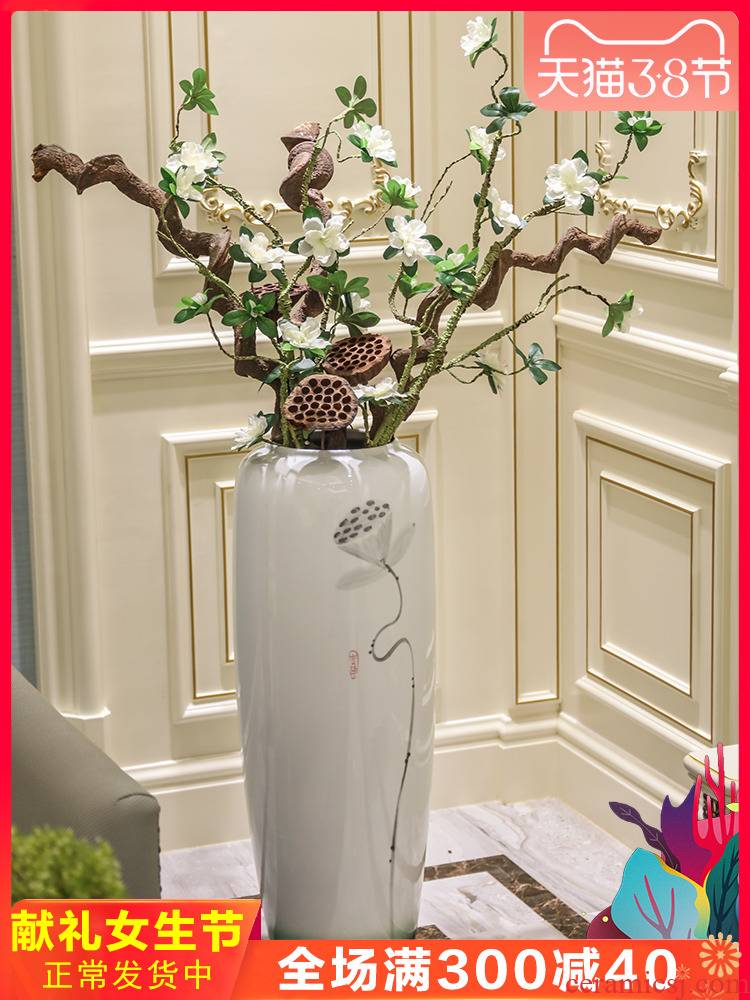 Jingdezhen ceramic creative dried flower living room floor decoration flower vase is placed large flower arranging I and contracted