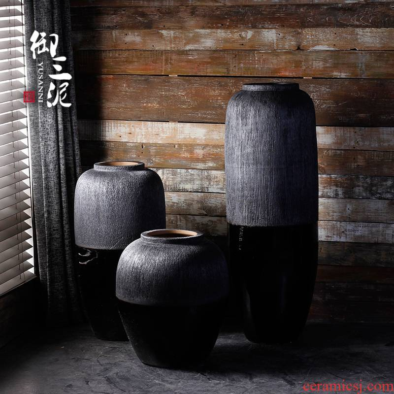 Jingdezhen modern landing big vases, ceramic flower pot courtyard garden pottery urn furnishing articles contracted sitting room adornment