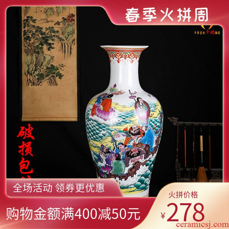 Jingdezhen ceramics large vases, flower arrangement sitting room of Chinese style household adornment archaize porcelain sea fish bottle