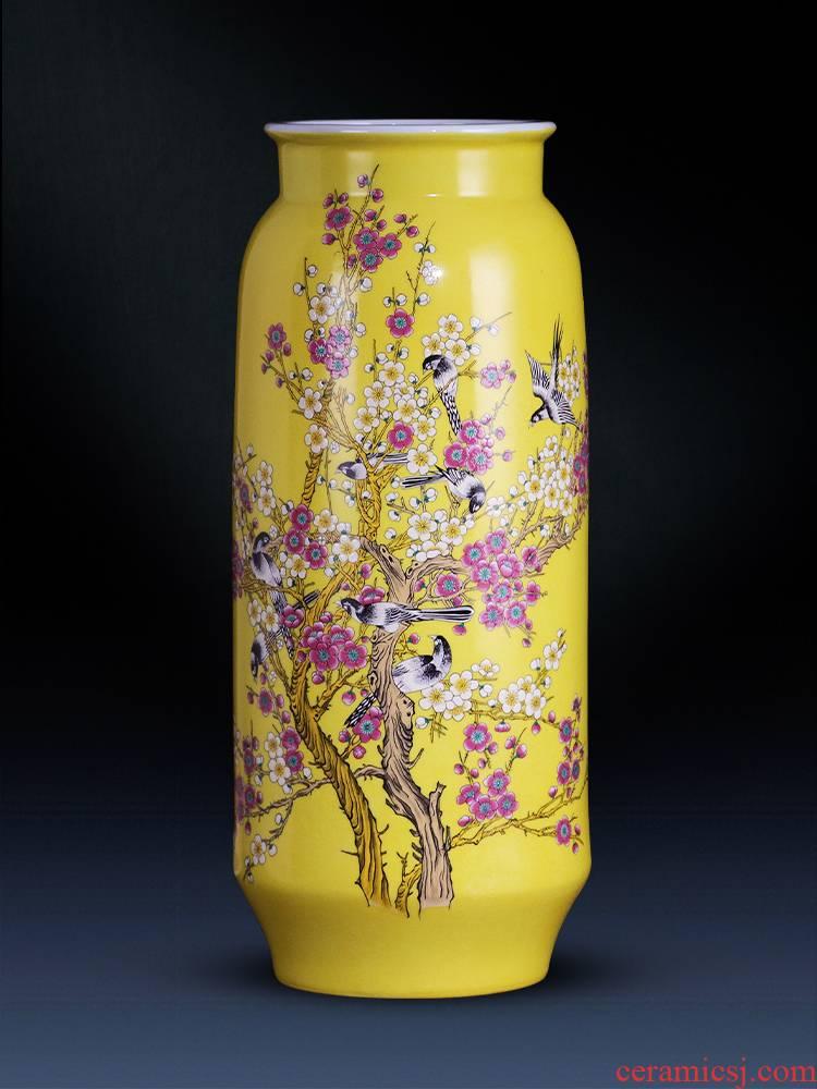 Jingdezhen ceramics modern home sitting room beaming quiver pastel yellow vase handicraft furnishing articles