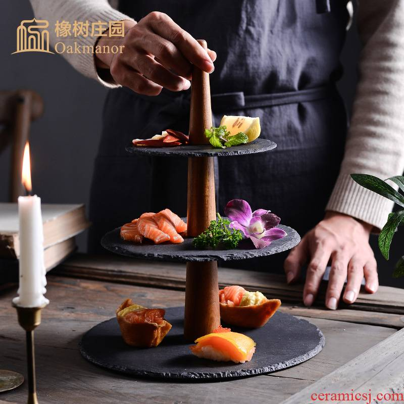 Japanese ceramics rock series disc double dessert Taiwan snack plate three the layers of fruit bowl creative tea cake