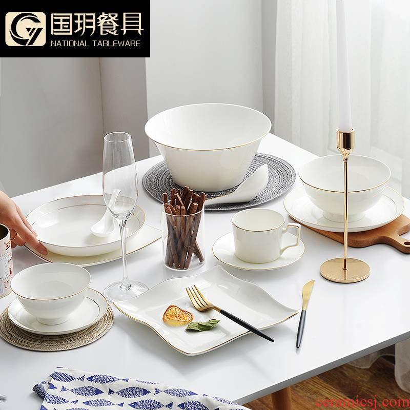 Ipads bowls up phnom penh dish suit household tangshan ceramic tableware suit creative contracted light dishes European - style key-2 luxury dining utensils