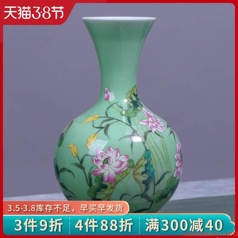 Jingdezhen ceramic vase manual shadow blue glaze color bucket load rhyme bottle vases, flower decoration crafts are sitting room