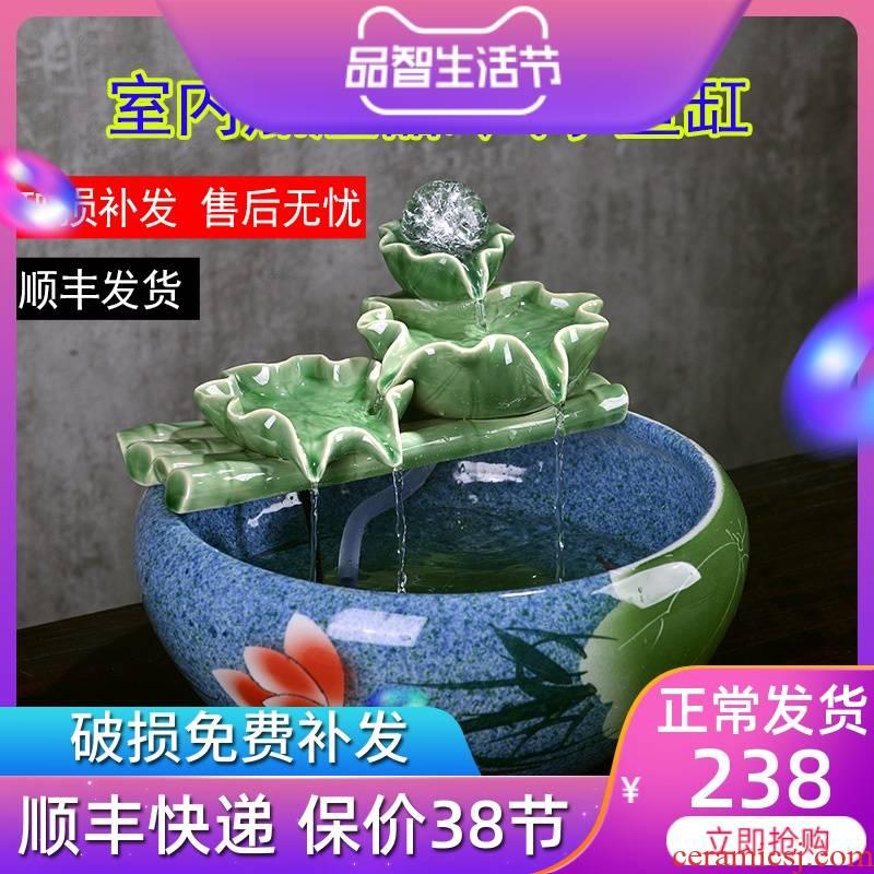 Jingdezhen ceramic water furnishing articles office desktop fountain in the sitting room feng shui wheel spray small fish tank