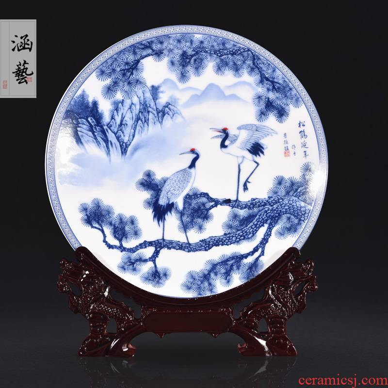 Jingdezhen blue and white pine crane live ceramic decoration plate of new Chinese style living room porch household adornment handicraft furnishing articles