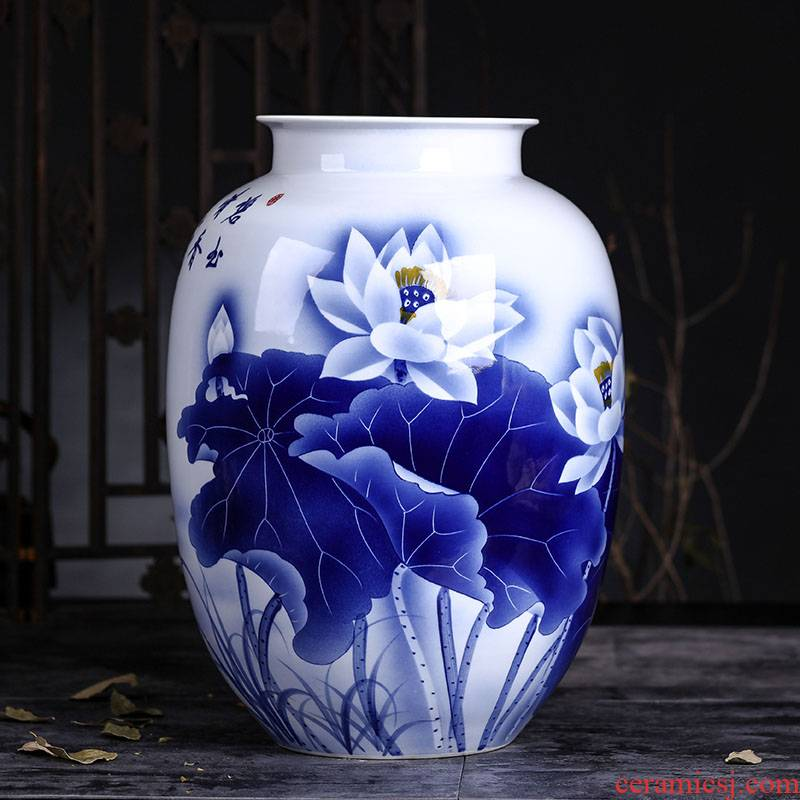 Jingdezhen ceramics furnishing articles big vase household flower arrangement sitting room adornment bottles of hand blue and white porcelain vase furnishing articles