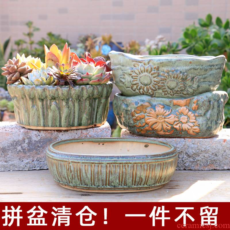 Household fleshy flower pot is oversized caliber platter meat meat the plants potted ceramics through pockets tao special offer a clearance
