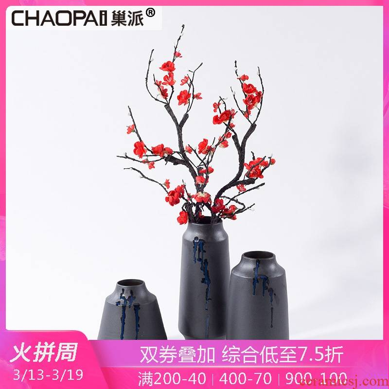New Chinese style ceramic plug-in flower vase furnishing articles simulation dried flower flower decoration example room porch feel ornaments