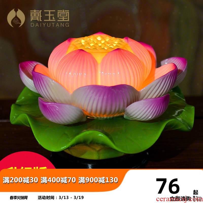 Yutang dai ceramic Buddha before furnishing articles for buddhist temple consecrate Buddha lotus Buddha with supplies GongDeng colorful lotus lamp Buddha