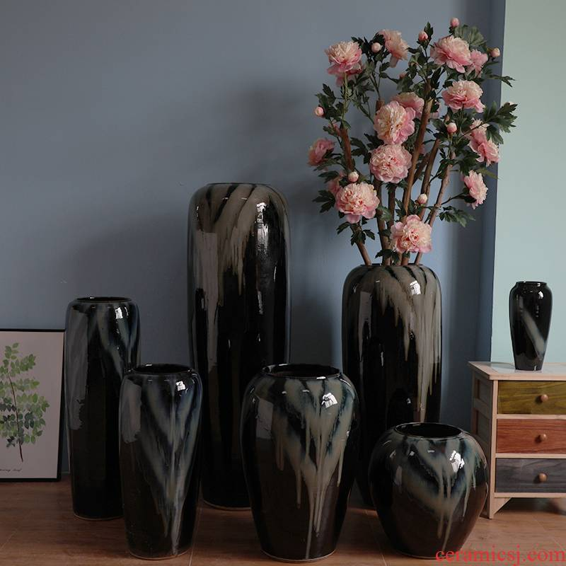 I and contracted hotel lobby floor black ceramic vase furnishing articles power pottery flower arranging, villa example room