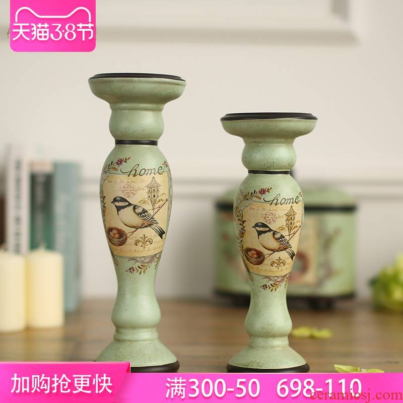 American country deling silk ceramic candlestick furnishing articles delicate household soft adornment ornament sitting room product