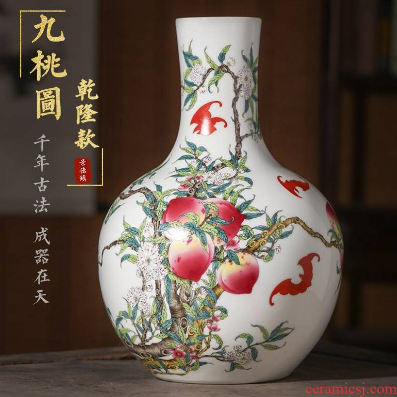 Jingdezhen ceramics vase flower arranging large antique Chinese style household TV ark, place of the sitting room porch decoration