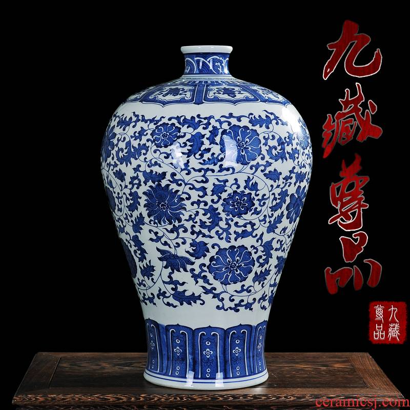 Antique vase of blue and white porcelain of jingdezhen ceramics crafts are put lotus flower bottle name plum home sitting room be born
