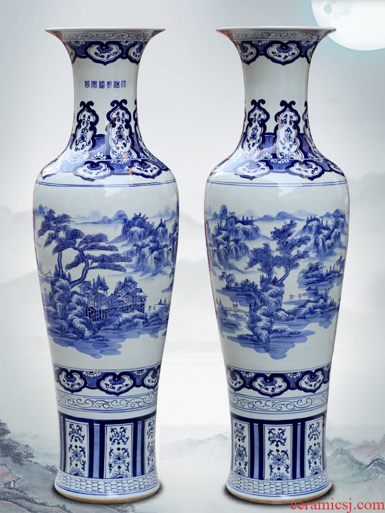 Jingdezhen blue and white porcelain home cooked meal sitting room office Chinese landscape painting of large vase furnishing articles ornaments