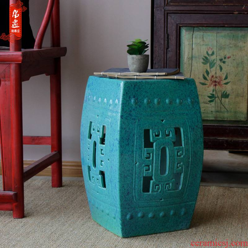 Jingdezhen ceramic furnishing articles drum who pier who use under high temperature glaze sitting room home courtyard dressing floor decoration