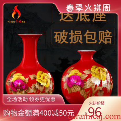 Jingdezhen ceramic red peony flower vase decoration of modern Chinese style household crafts sitting room TV ark, furnishing articles