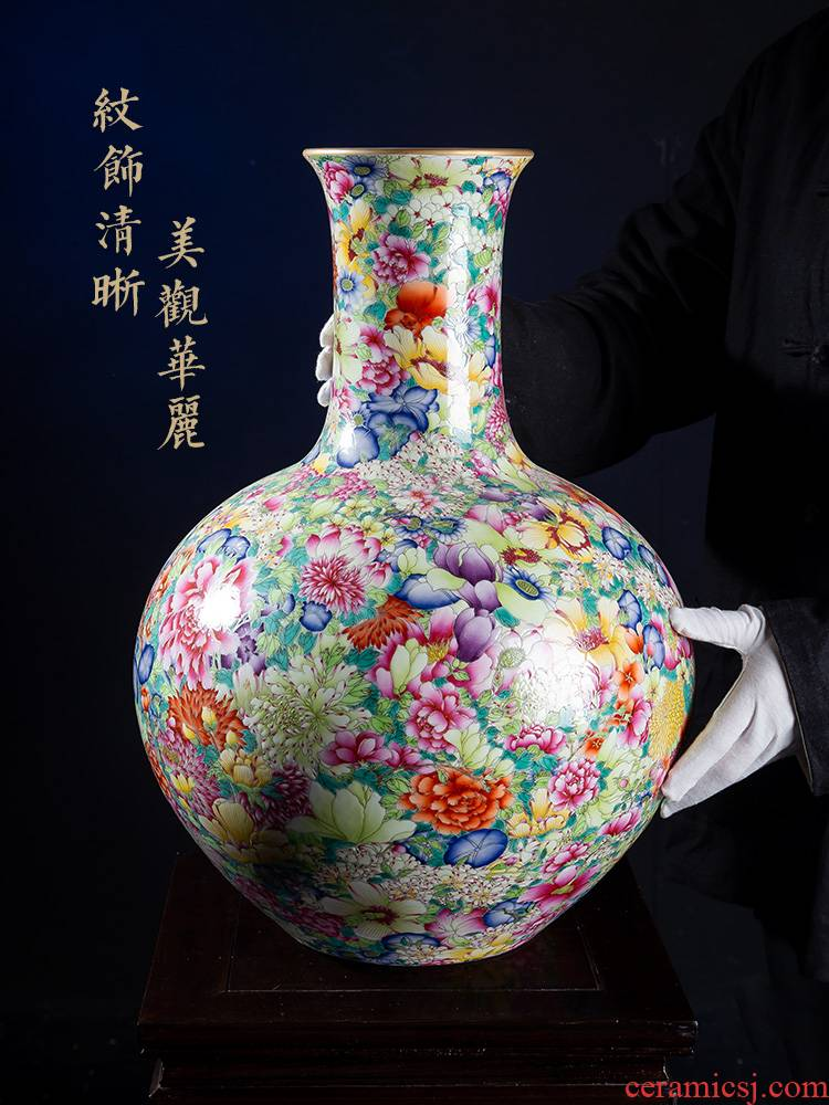 Jia lage jingdezhen ceramic vase YangShiQi landing after carved the qing qianlong enamel bottle of flower is not be born