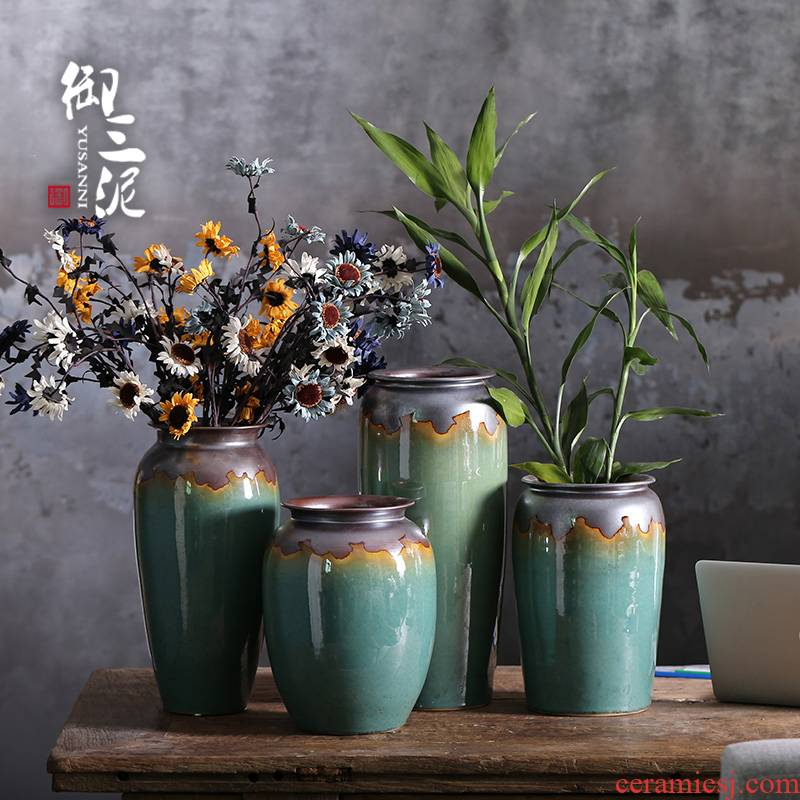 Jingdezhen ceramic new Chinese vase furnishing articles sitting room put lucky bamboo straight fleshy potted flower pot