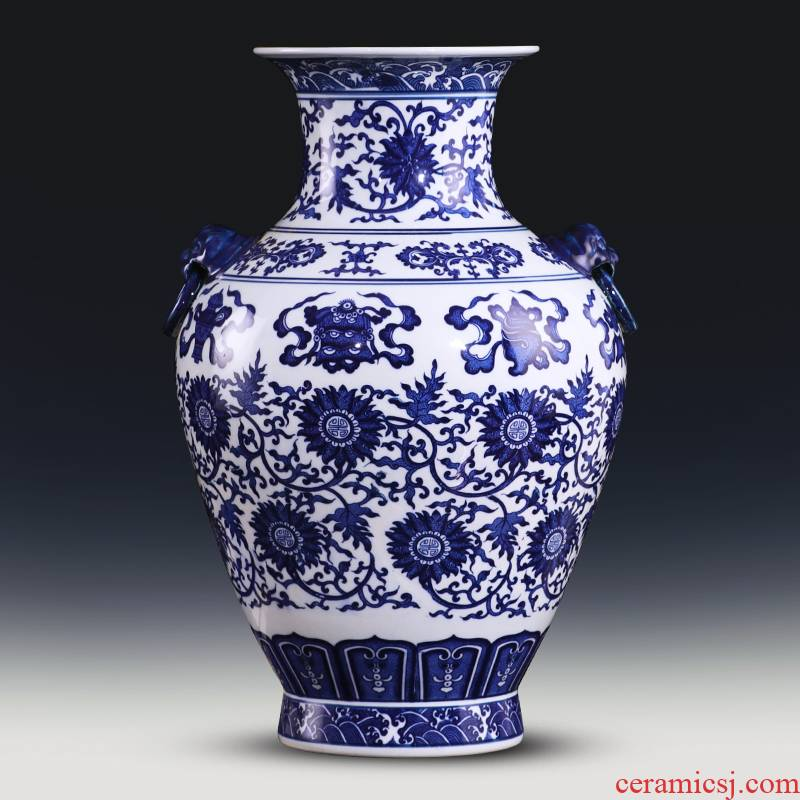 Jingdezhen ceramics archaize large blue and white porcelain vase flower arranging, furnishing articles sitting room of the new Chinese style household decorations