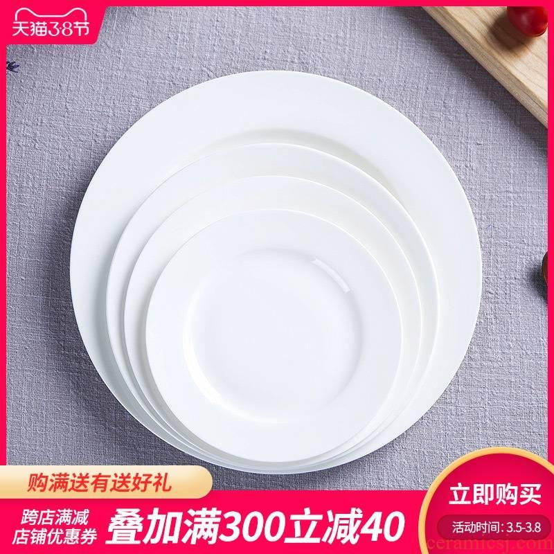Jingdezhen pure white ipads child creative porcelain ceramic flat tray plates western food steak plate tableware