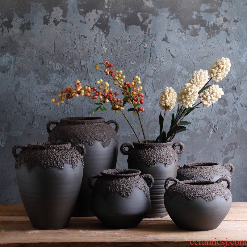 Thick black terms ceramic dry flower pot some ceramic porcelain craft vase of jingdezhen ceramic mud retro floral flower arranging furnishing articles