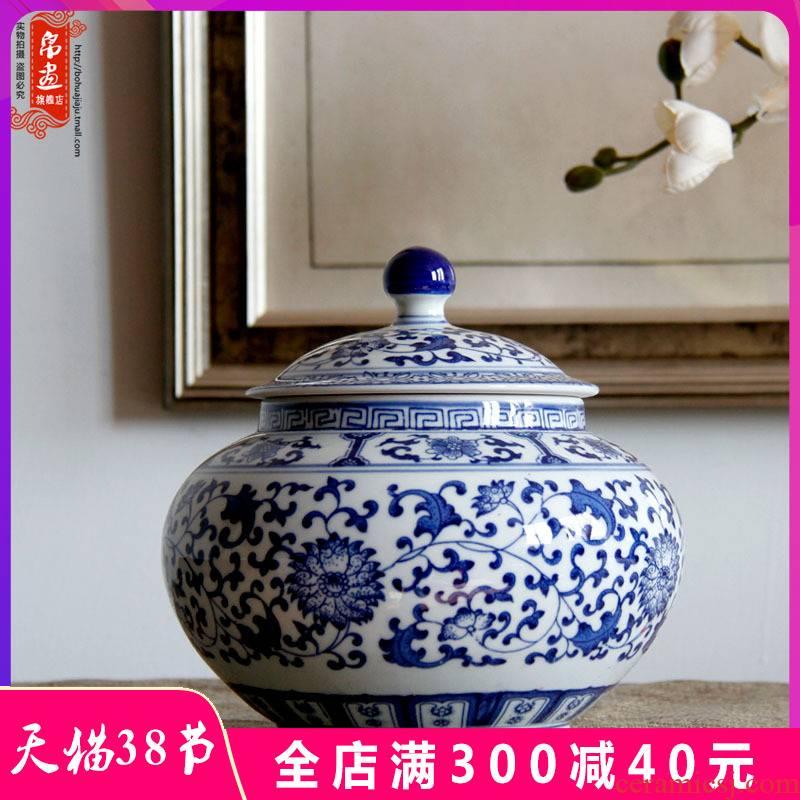 Jingdezhen blue and white porcelain tea pot of tea cake box primitive simplicity decoration household ceramics creative tea ware porcelain