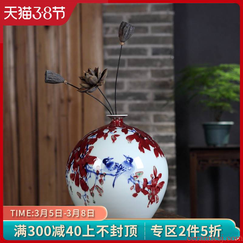 Jingdezhen ceramics hand - made porcelain youligong flower vase new Chinese zen sitting room adornment is placed
