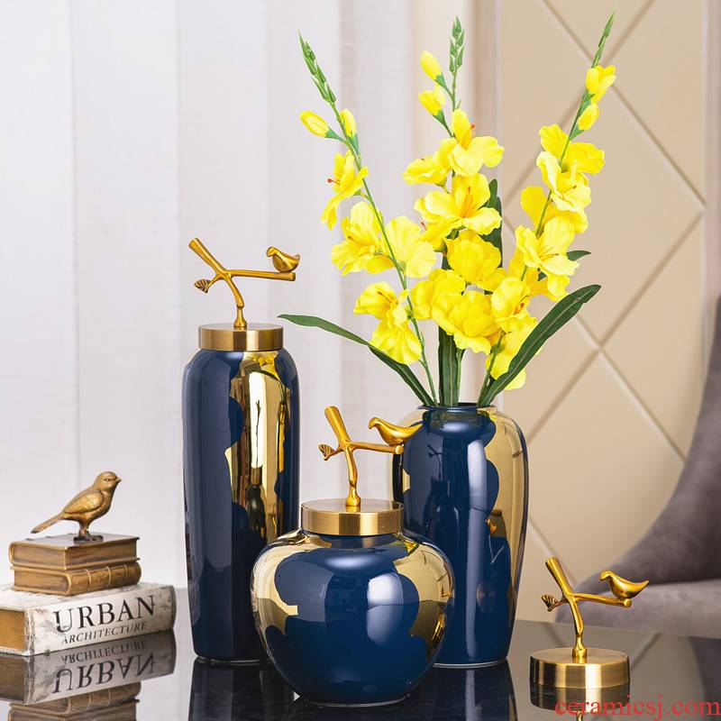Light the key-2 luxury of modern ceramic vases, pure copper cover furnishing articles sitting room dried flowers flower arrangement of new Chinese style household Nordic decoration decoration