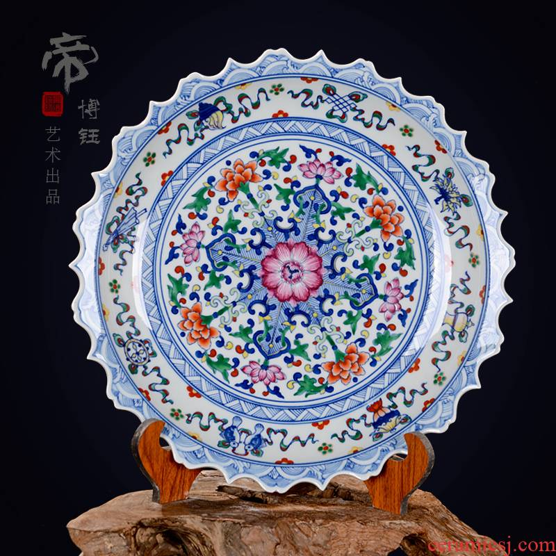 Jingdezhen ceramic decoration plate sit plate hanging dish hand - made antique blue and white porcelain enamel dish crafts