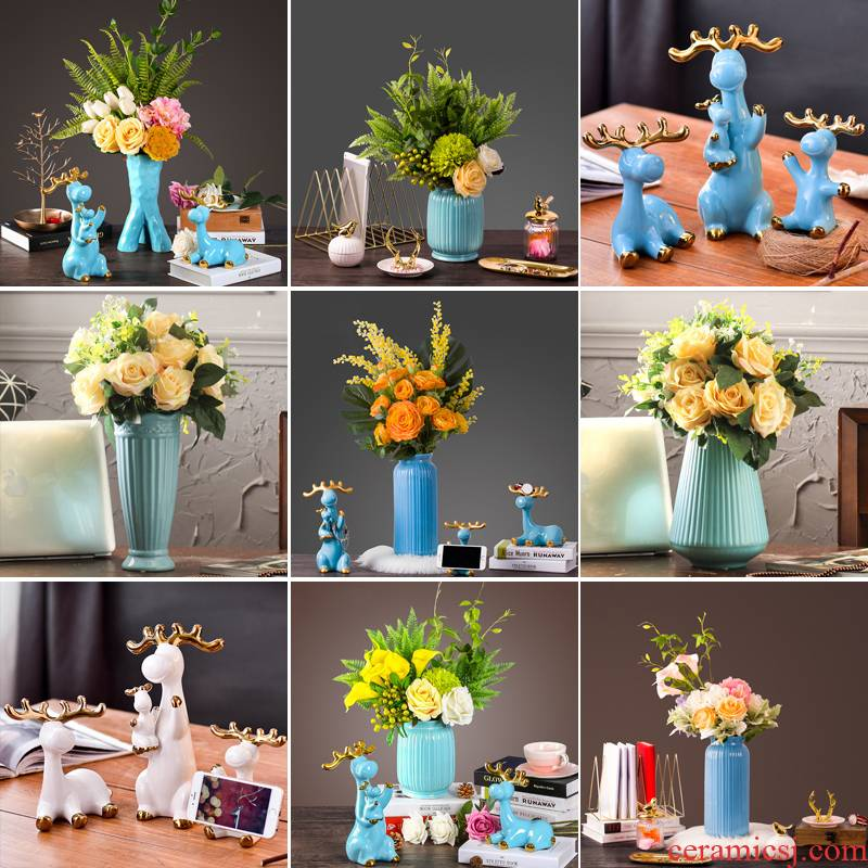 Contracted and I European vase furnishing articles household act the role ofing is tasted, the sitting room TV ark, wine cabinet decoration creative ceramic deer furnishing articles