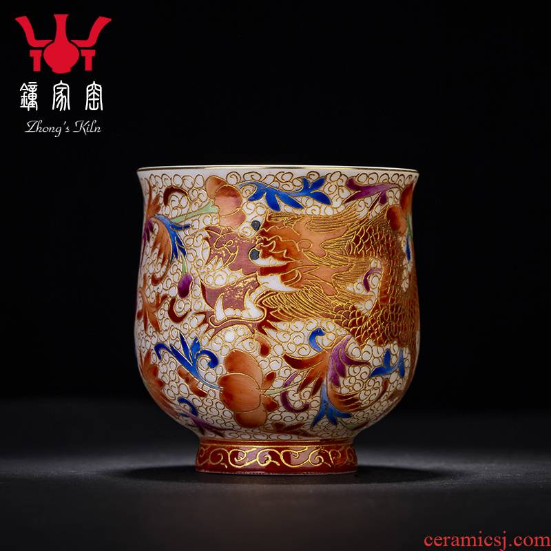Clock at jingdezhen up fragrance - smelling cup wire inlay enamel see manual dragon cup master cup kung fu tea cup tea cup